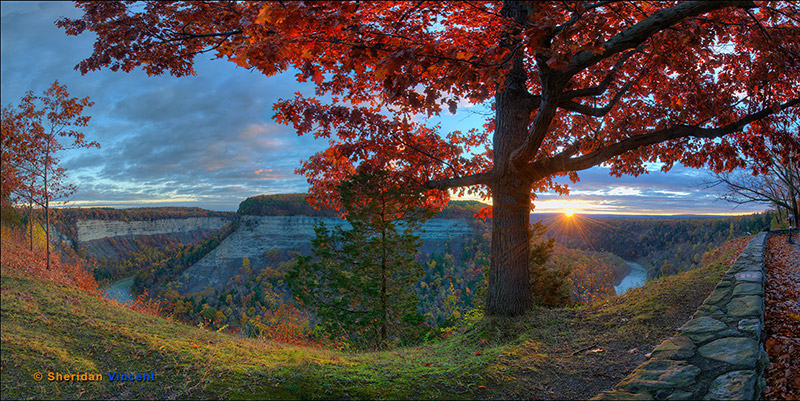 Letchworth Sunrise-Red Dawn by Sheridan Vincent